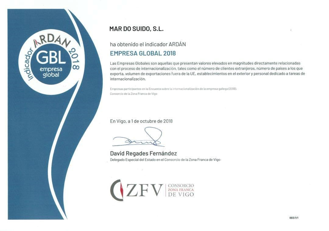 Premio ARDAN-MAR DO SUIDO ganadora del premio buenas prácticas empresariales 2018