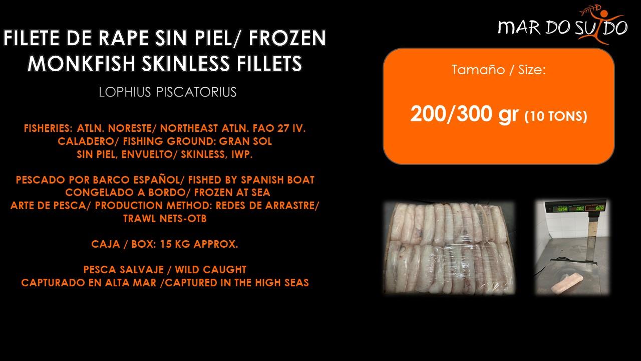 Oferta Especial Filete de Rape Sin Piel - Frozen Monkfish Skinless Fillets Special Offer
