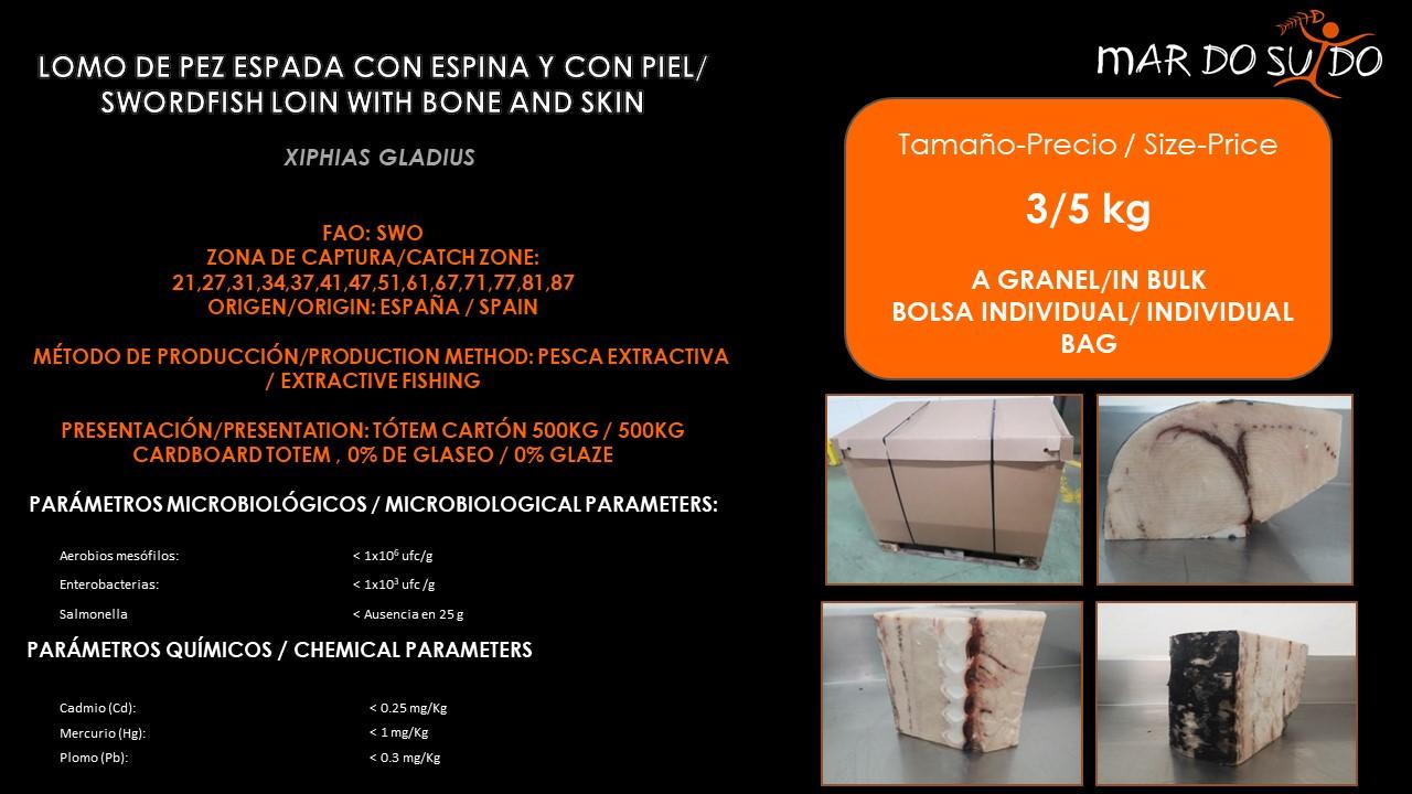 Oferta Destacada de Lomo de Pez Espada Con Espina y Con Piel - Swordfish Loin With Bone and Skin On Special Offer