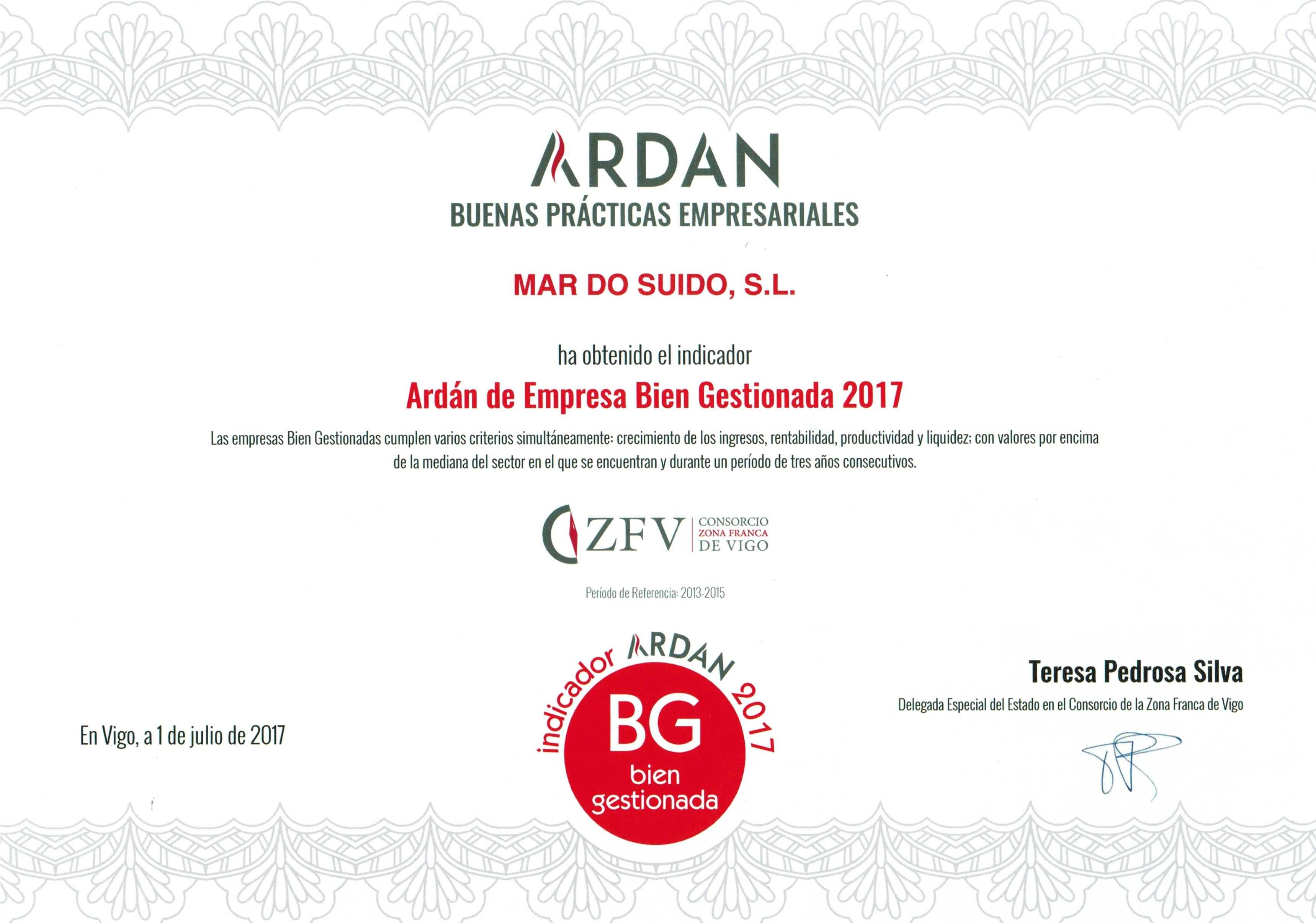 Premio ARDAN-MAR DO SUIDO ganadora del premio buenas prácticas empresariales 2017